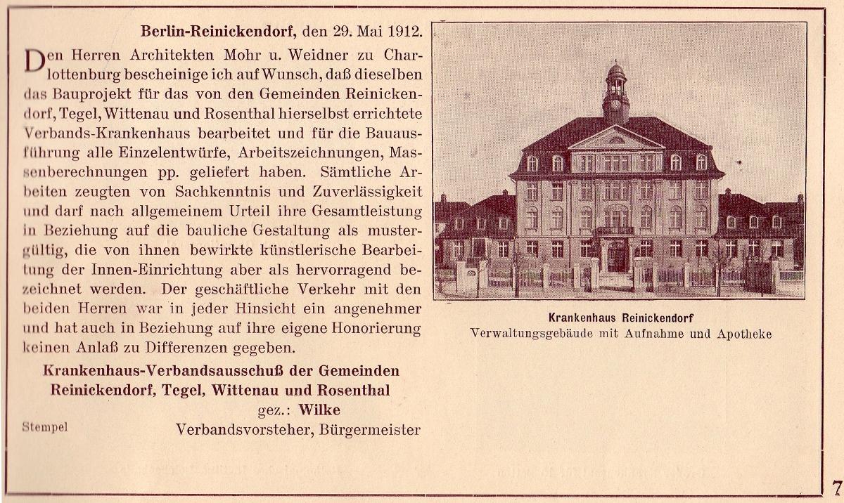 Krankenhaus Reinickendorf von 1910